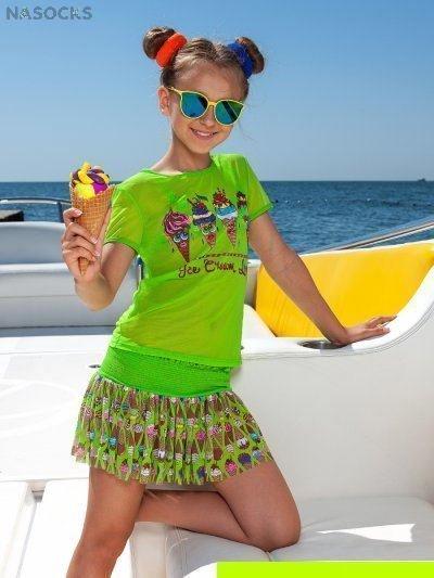 50d3479fc58ab Пляжный комплект для девочек (футболка+юбка) Charmante GF/GU 041906