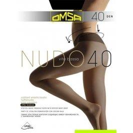Колготки женские с эффектом сатина, заниженная талия OMSA Nudo 40 den Vita Bassa