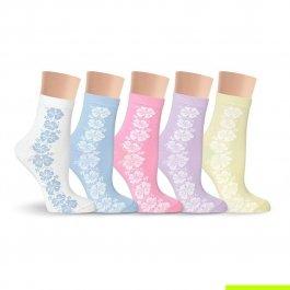Носки женские разноцветные, в цветочек Lorenz Д1