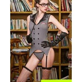 Комплект женский (платье, стринги, чулки, очки, перчатки, указка) Charmante e9617