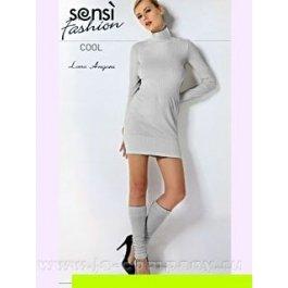 """Мини-платье женское, бесшовное, с рельефным узором """"полоска"""" Sensi Angora Cool Dolcevita  Manica Lunga"""