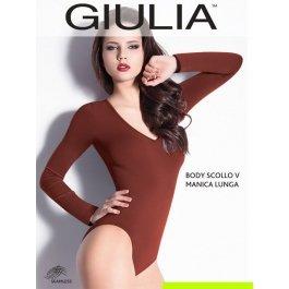 Распродажа боди Giulia BODY SCOLLO V MANICA LUNGA женская бесшовная