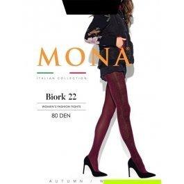 Колготки женские 80 den, с объемным орнаментом Mona BIORK 22