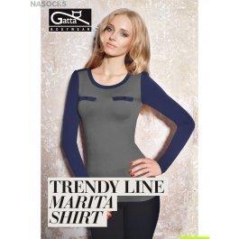 Распродажа блузка Gatta MARITA SHIRT женская, бесшовная, с круглым вырезом и длинным рукавом, с декоративными карманами и имитацией погонов