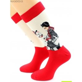 "Носки Hobby Line HOBBY 237 носки ART дизайн ""Дедушка и Снеговик"" Норман Роквелл"