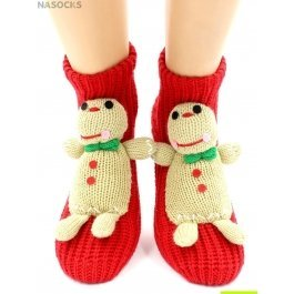 "Носки Hobby Line HOBBY 071 носки вязаные АВС ""Печенька на красном"""