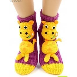 """Носки Hobby Line HOBBY 074 носки вязаные АВС """"Жирафик на пурпурном"""""""