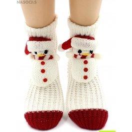 "Носки Hobby Line HOBBY 085 носки вязаные АВС ""Снеговик на белом"""