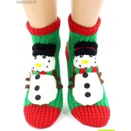 "Носки Hobby Line HOBBY 085-1 носки вязаные АВС ""Снеговик на зеленом"""