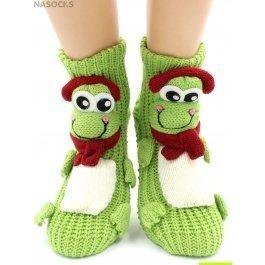 "Носки Hobby Line HOBBY 091 носки вязаные АВС ""Лягушка в наушниках на зеленом"""