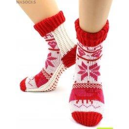 """Носки Hobby Line HOBBY 098 носки вязаные """"Снежинки белый с красным манжет"""""""