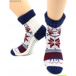 "Носки Hobby Line HOBBY 099 носки вязаные ""Снежинки белый с синим манжет"""
