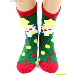 "Носки Hobby Line HOBBY 2222-2 носки махровые-пенка ""Новогодние, елочки 3Д"""