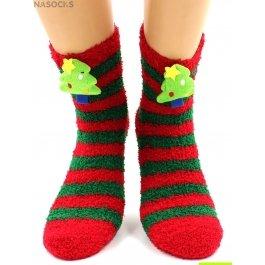"Носки Hobby Line HOBBY 044-1 носки махровые-травка  ""Новогодние, Ёлочка 3Д"""