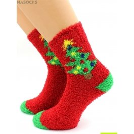 "Носки Hobby Line HOBBY 049 носки махровые-травка  ""Новогодняя Ёлочка"""