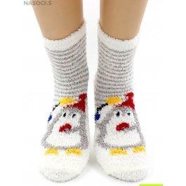 """Носки Hobby Line HOBBY 059-2 носки махровые-травка """"Пингвин на белом в серую полоску"""""""