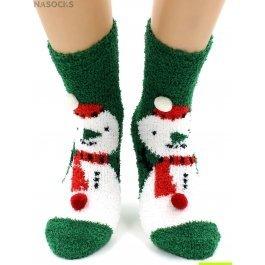 "Носки Hobby Line HOBBY 068-8 носки махровые-травка ""Снеговик на зеленом и шарики 3Д"""