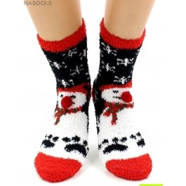 "Носки Hobby Line HOBBY 068-9 носки махровые-травка ""Снеговик на черном и шарики 3Д"""