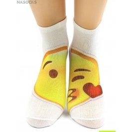 """Носки Hobby Line HOBBY 517 носки укороченные женские х/б, АБ, смайлик """"Воздушный поцелуй"""""""
