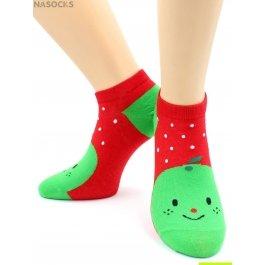 "Носки Hobby Line HOBBY 530-08 носки укороченные женские х/б, ""Яблоко на красном"""