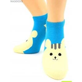 "Носки Hobby Line HOBBY 531-16 носки укороченные женские х/б, ""Мышонок на голубом"""