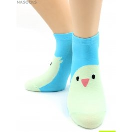 "Носки Hobby Line HOBBY 531-19 носки укороченные женские х/б, ""Птенчик на голубом"""
