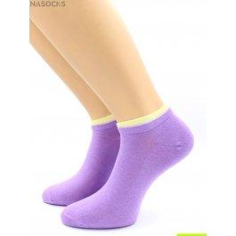 Носки Hobby Line HOBBY 561-01 носки укороченные женские х/б, лиловый с желтой резинкой