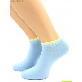Носки Hobby Line HOBBY 561-02 носки укороченные женские х/б, голубой с желтой резинкой