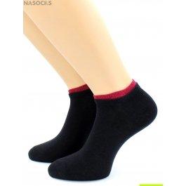 Носки Hobby Line HOBBY 561-09 носки укороченные женские х/б, черный с малиновой резинкой