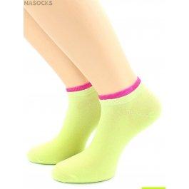 Носки Hobby Line HOBBY 561-11 носки укороченные женские х/б, салатовый с красной резинкой