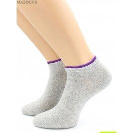 Носки Hobby Line HOBBY 561-13 носки укороченные женские х/б, серый с красной резинкой