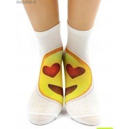 "Носки Hobby Line HOBBY 521 укороченные женские х/б, АБ, смайлик ""Влюблен"""