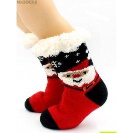 """Носки Hobby Line HOBBY 30769 детские носки с мехом внутри """"Дед мороз со снежинками"""""""