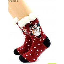 """Носки Hobby Line HOBBY 30585-3 женские носки с мехом внутри """"Снеговик на коньках"""""""