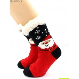 "Носки Hobby Line HOBBY 30591 женские носки с мехом внутри ""Дед Мороз"" и снежинки"