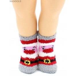 Носки Hobby Line HOBBY 3306-6 детские махровые травка, новогодние, Дед Мороз
