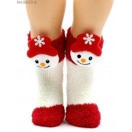 Носки Hobby Line HOBBY 3332 детские махровые травка, новогодние, снеговик