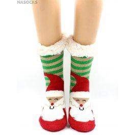"""Носки Hobby Line HOBBY 30591-4 женские носки с мехом внутри """"Дед мороз в полоску"""""""