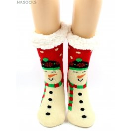 "Носки Hobby Line HOBBY 30585-4 женские носки с мехом внутри ""Снеговик на красном"""
