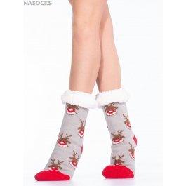 """Носки Hobby Line HOBBY 30589-9 женские носки с мехом внутри """"Мордочки оленя"""""""