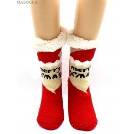 """Носки Hobby Line HOBBY 30591-2 женские носки с мехом внутри """"Merry X'MAS"""""""