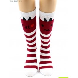"Распродажа носки Hobby Line HOBBY 4471-12 гольфы детские х/б, красно-белая полоска, ""Котик"""