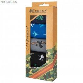 Подарочный набор носков для мальчиков на 23 Февраля ,5 пар, Lorenz Р54