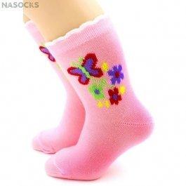 """Носки Hobby Line HOBBY 3536 детские х/б, для девочек, """"Бабочка с цветочками"""""""