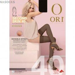 Чулки с гладкой атласной резинкой Ori Second Skin 40 Autoreggente