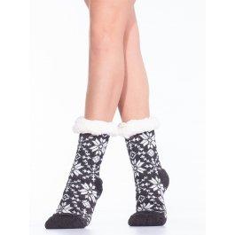 Носки домашние женские с мехом внутри, орнамент снежинки Hobby Line HOBBY 30583-5 ABC