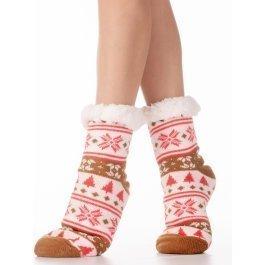 Носки женские носки с мехом внутри, новогодние Hobby Line HOBBY 30583-6 ABC