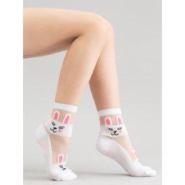 """Детские прозрачные носочки с мордочкой """"Зайка"""" Giulia KS3 CRYSTAL 001"""