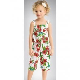 Купить Полукомбинезон для девочек из хлопка с ярким рисунком и рюшами на лямках Pelican GO339