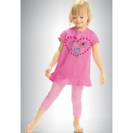Пижама для девочек из хлопка, с коротким рукавом и ярким рисунком Pelican GNML322